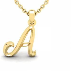 SuperJeweler A Swirly Initial Necklace in Heavy Yellow Gold (2.1 g) w/ Free 18 Inch Cable Chain by SuperJeweler