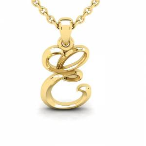 SuperJeweler E Swirly Initial Necklace in Heavy Yellow Gold (2.1 g) w/ Free 18 Inch Cable Chain by SuperJeweler
