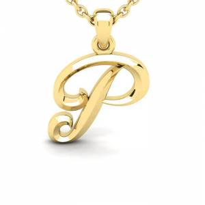 SuperJeweler P Swirly Initial Necklace in Heavy Yellow Gold (2.1 g) w/ Free 18 Inch Cable Chain by SuperJeweler