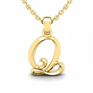 SuperJeweler Q Swirly Initial Necklace in Heavy Yellow Gold (2.1 g) w/ Free 18 Inch Cable Chain by SuperJeweler
