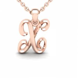 SuperJeweler X Swirly Initial Necklace in Heavy Rose Gold (2.1 g) w/ Free 18 Inch Cable Chain by SuperJeweler