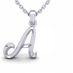 SuperJeweler A Swirly Initial Necklace in Heavy 14K White Gold (2.4 g) w/ Free 18 Inch Cable Chain by SuperJeweler