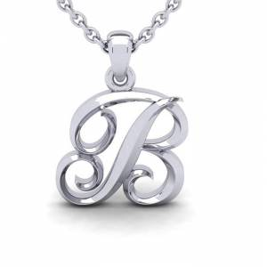 SuperJeweler B Swirly Initial Necklace in Heavy 14K White Gold (2.4 g) w/ Free 18 Inch Cable Chain by SuperJeweler