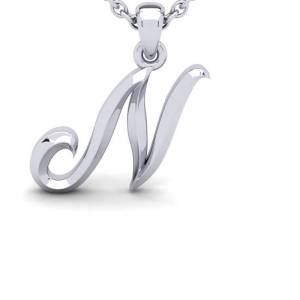 SuperJeweler N Swirly Initial Necklace in Heavy 14K White Gold (2.4 g) w/ Free 18 Inch Cable Chain by SuperJeweler