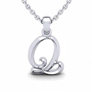 SuperJeweler Q Swirly Initial Necklace in Heavy 14K White Gold (2.4 g) w/ Free 18 Inch Cable Chain by SuperJeweler