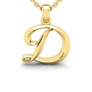 SuperJeweler D Swirly Initial Necklace in Heavy 14K Yellow Gold (2.4 g) w/ Free 18 Inch Cable Chain by SuperJeweler