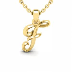 SuperJeweler F Swirly Initial Necklace in Heavy 14K Yellow Gold (2.4 g) w/ Free 18 Inch Cable Chain by SuperJeweler