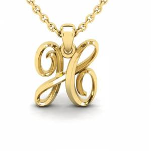 SuperJeweler H Swirly Initial Necklace in Heavy 14K Yellow Gold (2.4 g) w/ Free 18 Inch Cable Chain by SuperJeweler