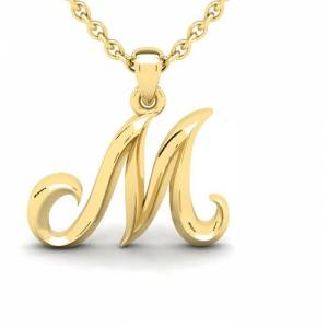 SuperJeweler M Swirly Initial Necklace in Heavy 14K Yellow Gold (2.4 g) w/ Free 18 Inch Cable Chain by SuperJeweler