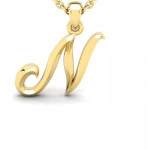 SuperJeweler N Swirly Initial Necklace in Heavy 14K Yellow Gold (2.4 g) w/ Free 18 Inch Cable Chain by SuperJeweler