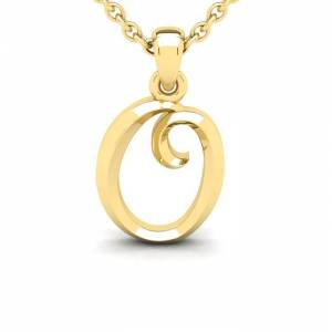 SuperJeweler O Swirly Initial Necklace in Heavy 14K Yellow Gold (2.4 g) w/ Free 18 Inch Cable Chain by SuperJeweler
