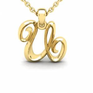 SuperJeweler U Swirly Initial Necklace in Heavy 14K Yellow Gold (2.4 g) w/ Free 18 Inch Cable Chain by SuperJeweler