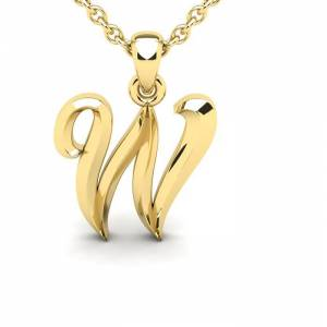 SuperJeweler W Swirly Initial Necklace in Heavy 14K Yellow Gold (2.4 g) w/ Free 18 Inch Cable Chain by SuperJeweler