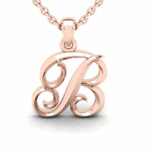 SuperJeweler B Swirly Initial Necklace in Heavy 14K Rose Gold (2.4 g) w/ Free 18 Inch Cable Chain by SuperJeweler