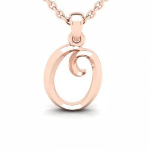 SuperJeweler O Swirly Initial Necklace in Heavy 14K Rose Gold (2.4 g) w/ Free 18 Inch Cable Chain by SuperJeweler