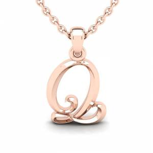 SuperJeweler Q Swirly Initial Necklace in Heavy 14K Rose Gold (2.4 g) w/ Free 18 Inch Cable Chain by SuperJeweler