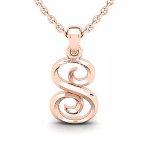 SuperJeweler S Swirly Initial Necklace in Heavy 14K Rose Gold (2.4 g) w/ Free 18 Inch Cable Chain by SuperJeweler