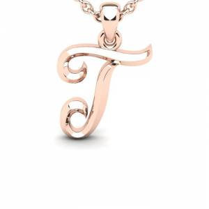 SuperJeweler T Swirly Initial Necklace in Heavy 14K Rose Gold (2.4 g) w/ Free 18 Inch Cable Chain by SuperJeweler