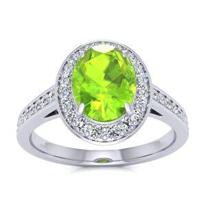 SuperJeweler 1.5 Carat Oval Shape Peridot & Halo Diamond Ring in 14K White Gold (4.7 g),  by SuperJeweler