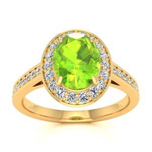 SuperJeweler 1.5 Carat Oval Shape Peridot & Halo Diamond Ring in 14K Yellow Gold (4.7 g),  by SuperJeweler