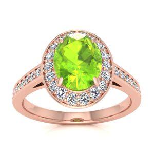 SuperJeweler 1.5 Carat Oval Shape Peridot & Halo Diamond Ring in 14K Rose Gold (4.7 g),  by SuperJeweler