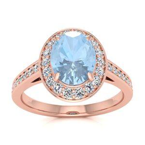 SuperJeweler 1.5 Carat Oval Shape Aquamarine & Halo Diamond Ring in 14K Rose Gold (4.7 g),  by SuperJeweler