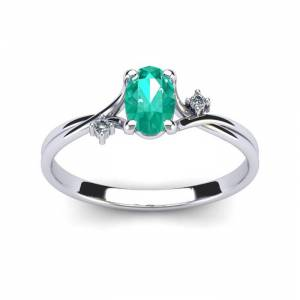 SuperJeweler 1/2 Carat Oval Shape Emerald Cut & Two Diamond Accent Ring in 14K White Gold (1.6 g),  by SuperJeweler