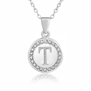 """SuperJeweler """"T"""" Initial Diamond Necklace in Sterling Silver, 18 Inches,  by SuperJeweler"""