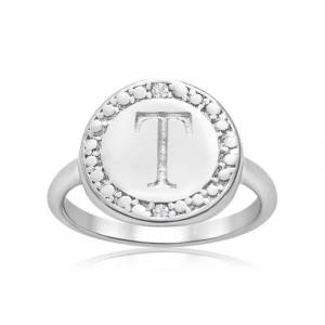 "SuperJeweler ""T"" Initial Diamond Ring in Sterling Silver,  by SuperJeweler"