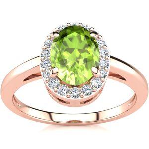 SuperJeweler 1 Carat Oval Shape Peridot & Halo Diamond Ring in 14K Rose Gold (3 g),  by SuperJeweler