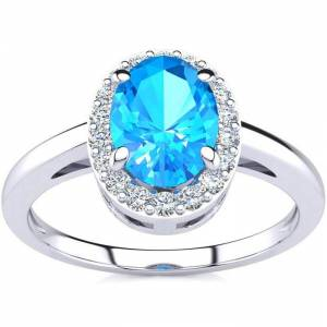 SuperJeweler 1 Carat Oval Shape Blue Topaz & Halo Diamond Ring in 14K White Gold (3 g),  by SuperJeweler