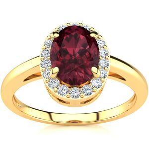 SuperJeweler 1 Carat Oval Shape Garnet & Halo Diamond Ring in 14K Yellow Gold (3 g),  by SuperJeweler