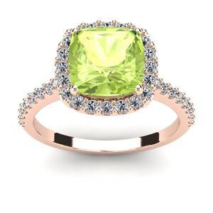 3 Carat Cushion Cut Peridot & Halo Diamond Ring in 14K Rose Gold (4.5 g),  by SuperJeweler