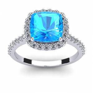 SuperJeweler 3 Carat Cushion Cut Blue Topaz & Halo Diamond Ring in 14K White Gold (4.5 g),  by SuperJeweler