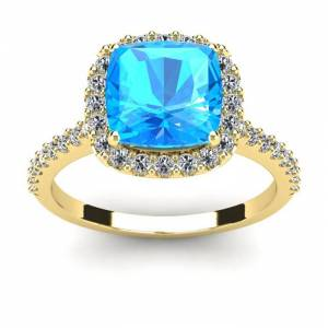 SuperJeweler 3 Carat Cushion Cut Blue Topaz & Halo Diamond Ring in 14K Yellow Gold (4.5 g),  by SuperJeweler