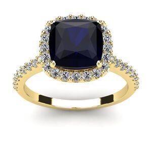 SuperJeweler 3 1/2 Carat Cushion Cut Sapphire & Halo Diamond Ring in 14K Yellow Gold (4.5 g),  by SuperJeweler