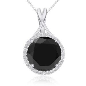 SuperJeweler 5 Carat Black & White Diamond Halo Necklace in 14K White Gold, G/H Color, 18 Inch Chain by SuperJeweler