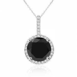 SuperJeweler 4 1/4 Carat Black & White Diamond Halo Necklace in 14K White Gold, G/H Color, 18 Inch Chain by SuperJeweler
