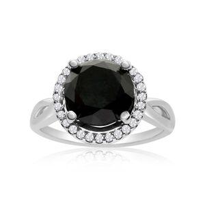 SuperJeweler 4 3/4 Carat Black & White Diamond Halo Ring in 14K White Gold, G/H Color by SuperJeweler