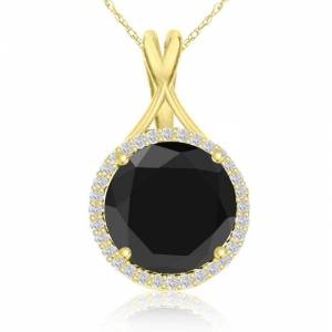 SuperJeweler 5 Carat Black & White Diamond Halo Necklace in 14K Yellow Gold, G/H Color, 18 Inch Chain by SuperJeweler