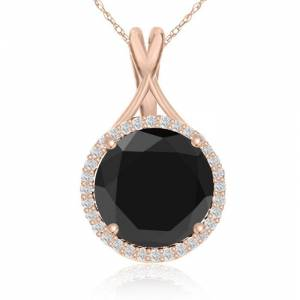 SuperJeweler 5 Carat Black & White Diamond Halo Necklace in 14K Rose Gold, G/H Color, 18 Inch Chain by SuperJeweler