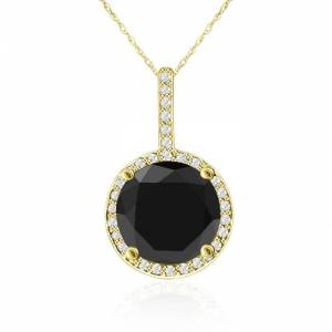 SuperJeweler 4 1/4 Carat Black & White Diamond Halo Necklace in 14K Yellow Gold, G/H Color, 18 Inch Chain by SuperJeweler