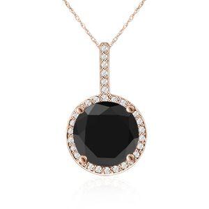 SuperJeweler 4 1/4 Carat Black & White Diamond Halo Necklace in 14K Rose Gold, G/H Color, 18 Inch Chain by SuperJeweler