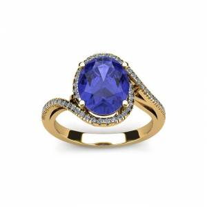 SuperJeweler 1.25 Carat Oval Shape Tanzanite & Halo Diamond Ring in 14K Yellow Gold (4.3 g),  by SuperJeweler