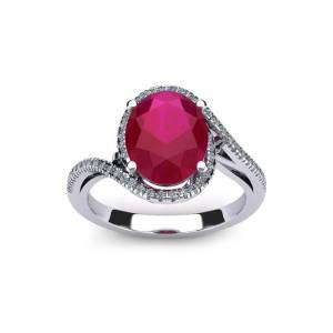 SuperJeweler 1.25 Carat Oval Shape Ruby & Halo Diamond Ring in 14K White Gold (4.3 g),  by SuperJeweler