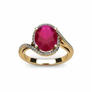 SuperJeweler 1.25 Carat Oval Shape Ruby & Halo Diamond Ring in 14K Yellow Gold (4.3 g),  by SuperJeweler