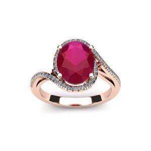SuperJeweler 1.25 Carat Oval Shape Ruby & Halo Diamond Ring in 14K Rose Gold (4.3 g),  by SuperJeweler