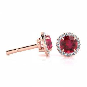 SuperJeweler 1 1/3 Carat Round Shape Ruby & Halo Diamond Earrings in 14K Rose Gold (1.4 g),  by SuperJeweler