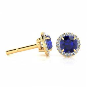 SuperJeweler 1 1/3 Carat Round Shape Sapphire & Halo Diamond Earrings in 14K Yellow Gold (1.4 g),  by SuperJeweler