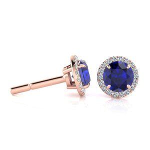 SuperJeweler 1 1/3 Carat Round Shape Sapphire & Halo Diamond Earrings in 14K Rose Gold (1.4 g),  by SuperJeweler